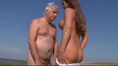 Busty Slutty Teeny Bangs Old Fart On The Beach